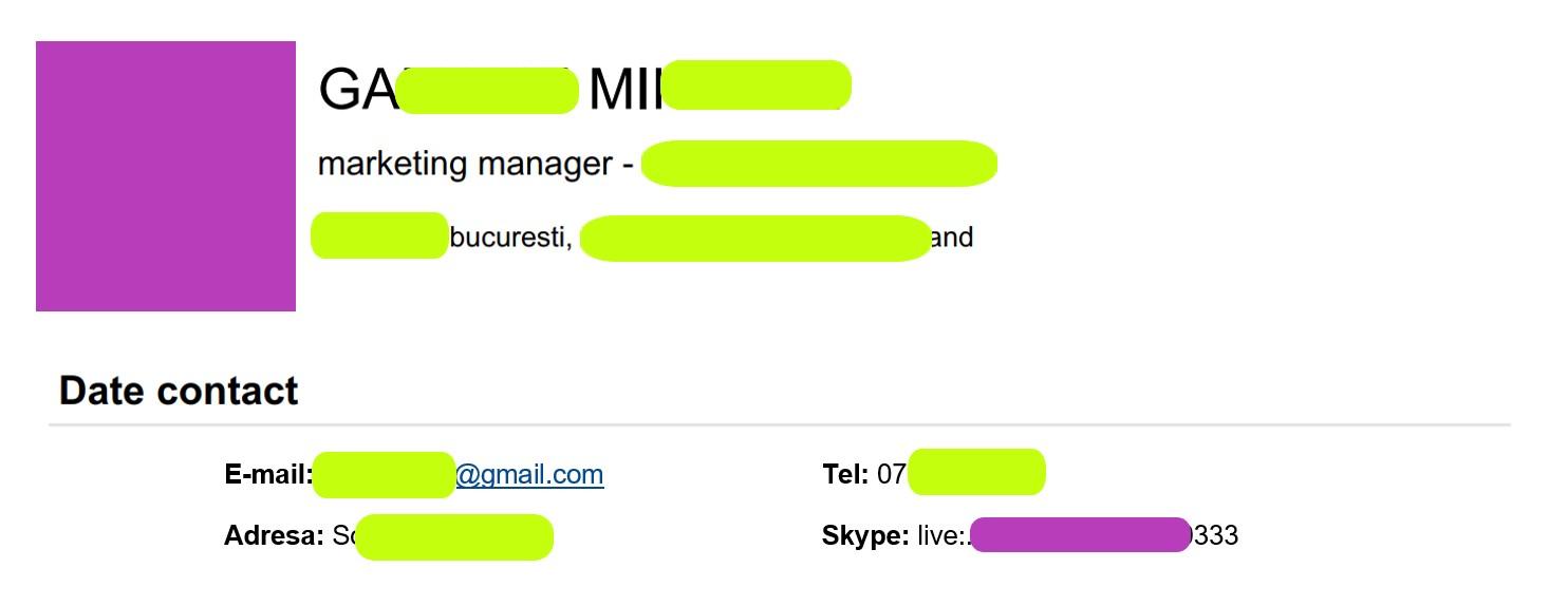 Skype name in Resume